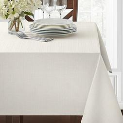 "Benson Mills Textured Fabric Tablecloth, White, 60"" x 120"" R"