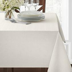 "Benson Mills Textured Fabric Tablecloth, White, 60"" x 104"" R"
