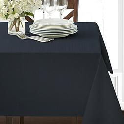 "Benson Mills Textured Fabric Tablecloth, Navy, 60"" x 84"" Rec"