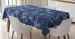 Ambesonne Camo Tablecloth, Militaristic Digital Effected Arm