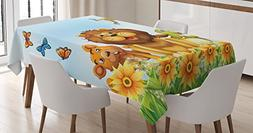 Ambesonne Cartoon Decor Tablecloth, Happy Animals Relaxing i