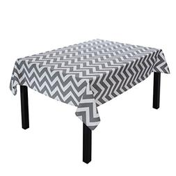 LinenTablecloth Charcoal and White Rectangular Cotton Chevro