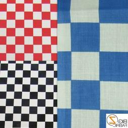 CHECKERED POLY COTTON PRINT FABRIC - 5 Colors - BY THE YARD