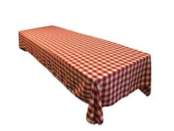 LA Linen Checkered Tablecloth, 60 by 102-Inch, Red