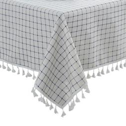 ColorBird Checkered Tassel Tablecloth Cotton Linen Dust-Proo