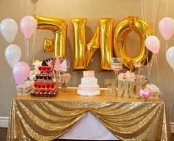 Choose Size Dark Gold Rectangle Sequin Tablecloth for Party