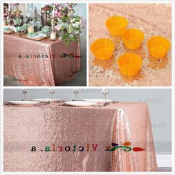 Choose Size Rose Gold Rectangle Sequin Tablecloth for Party