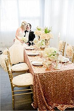 Choose Your Size, 3FT-10FT rose gold Sparkly Sequin Tableclo