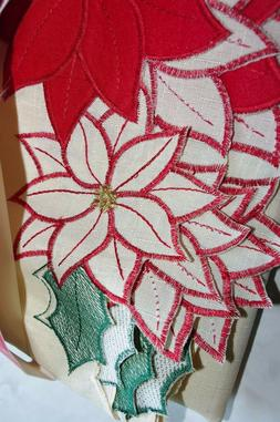Christmas 60 x 84  Tablecloth  Red APPLIQUED  Poinsettia On