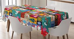 Christmas Decorations Tablecloth by Ambesonne, Modern Design
