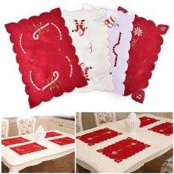 Christmas Dinning Table Embroidery Placemat Home Restaurant