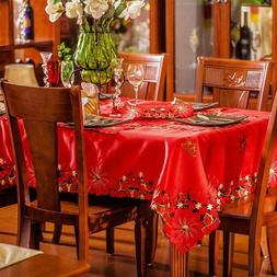 christmas embroidery table cloth red solid color