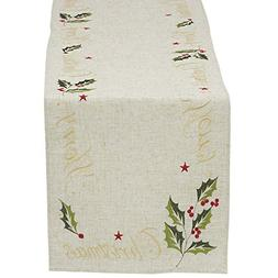 """DII Christmas Holiday Embroidered Table Runner, 14X70"""", Holl"""