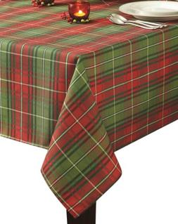 Benson Mills Christmas Plaid Printed Tablecloth, 52-Inch by