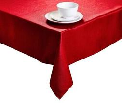 Christmas Rectangle Red Tablecloth with Shimmer Glitter Fabr