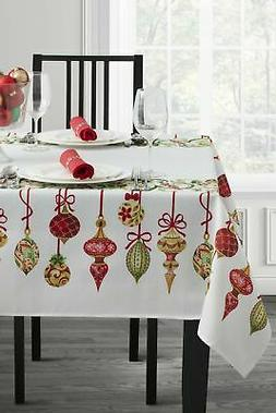 Christmas Ribbon Engineered Printed Fabric Tablecloth Holida