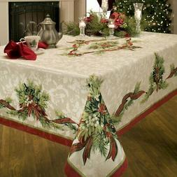 christmas ribbons engineered printed fabric tablecloth 60x10