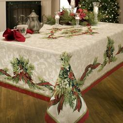 christmas ribbons engineered printed fabric tablecloth inch