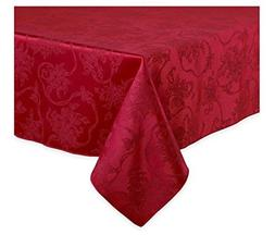 Christmas Ribbons Ruby Red Damask Tablecloth, 60-by-144 Inch