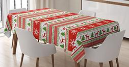Ambesonne Christmas Tablecloth, Traditional Reindeer Xmas Tr