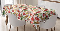 Ambesonne Christmas Tablecloth, Old Retro Vintage Watercolor
