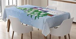 Ambesonne Christmas Tablecloth, Snowman in The Winter with M