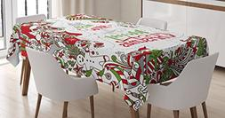 Ambesonne Christmas Tablecloth, We Wish You a Merry Christma