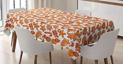 Ambesonne Christmas Tablecloth, Gingerbread Man House Cones