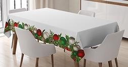 Ambesonne Christmas Tablecloth, Xmas Ornaments with Pine Spi