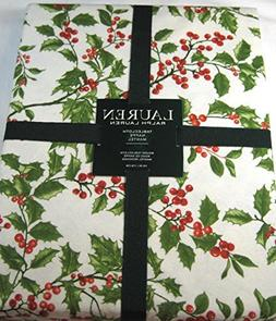Ralph Lauren Christmas Tablecloth Holly Tree Pine 70 Round 1
