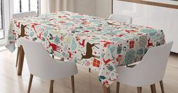 Ambesonne Christmas Tablecloth, Vintage Xmas Theme Icons Hea