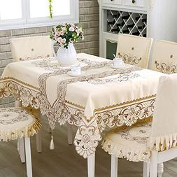 HOLY HOME Christmas Tablecloth 100% Polyester Embroidery Lac