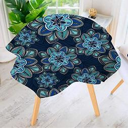 Leighhome Circular Table Cover Washable Polyester- Wallpaper