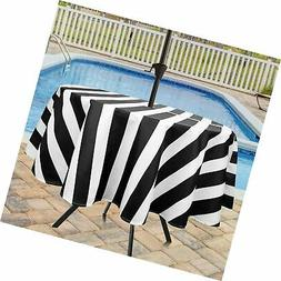 Eforcurtain Classic Stripes Round Zippered Outdoor Tableclot