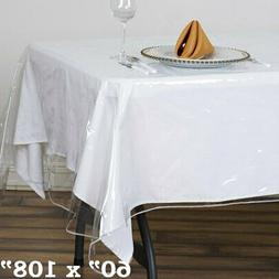 """Clear Plastic Vinyl 60x108"""" TABLECLOTH Protector Table Cover"""
