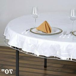 """Clear Plastic Vinyl 70"""" TABLECLOTH Protector Table Cover Wed"""