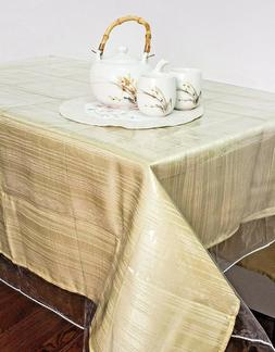 Clear Vinyl Tablecloth Stain Protector Durable Dining Table