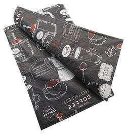 Coffee House Barista Themed Vinyl Tablecloth on Black Backgr