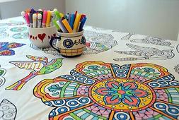 The Coloring Table - Colorable Mandala Tablecloth - XL