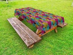 Colorblock Outdoor Picnic Tablecloth in 3 Sizes Washable Wat