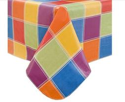 Colorful Checks Checkered Vinyl Tablecloth 60 X 84 Oblong Fl