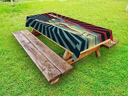 Colorful Outdoor Picnic Tablecloth Rock n Roll Hand Sign Pri