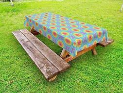Colorful Shapes Outdoor Picnic Tablecloth in 3 Sizes Washabl