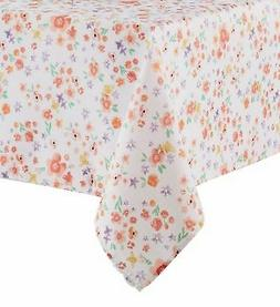 Celebrate Together Coral & Purple Floral Tablecloth Fabric T