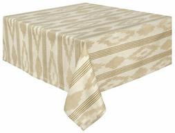 "100% Cotton Natural & Beige Striped Jacquard 60x60"" Tableclo"