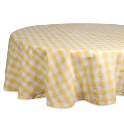 """DII 70"""" Round Cotton Tablecloth, Yellow & White Check - Perf"""