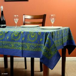 Cotton Floral Paisley Tablecloth Rectangle 58x90 Blue Yellow