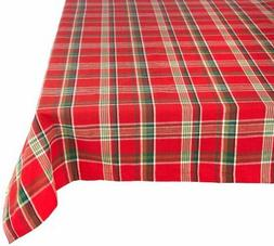 "Tango Red Plaid Square Tablecloth, 100% Cotton with 1/2"" Hem"