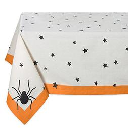 "DII 60x120"" Rectangular Cotton Tablecloth, Black Stars - Per"