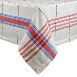 Cooperville Pop Plaid Square Tablecloth, 100% Cotton with 1/